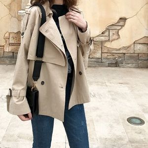 🆕 cropped beige cotton trench coat
